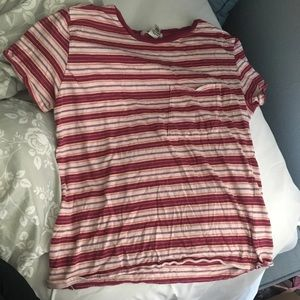 Pink striped tee with pocket